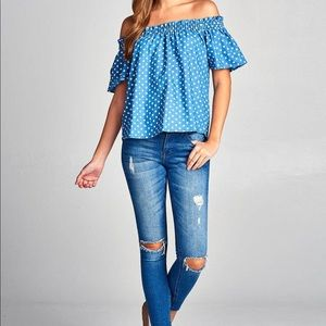 Tops - Chambray Polka Dot Off Shoulder Top
